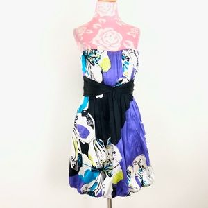 Bebe Silk Floral Strapless Date Mini Corset Dress